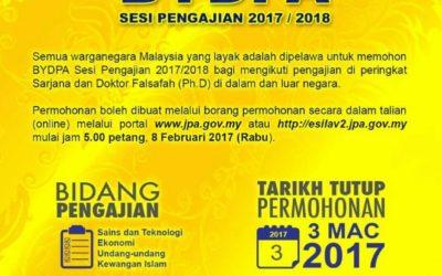 BIASISWA YANG DI-PERTUAN AGUNG BYDPA SESI 2017/2018