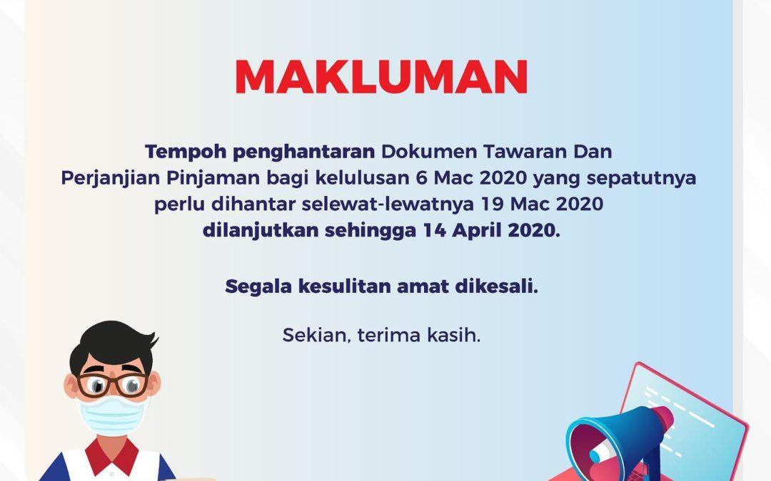 Makluman Pemanjangan Tempoh Penghantaran Dokumen Tawaran Pinjaman PTPTN