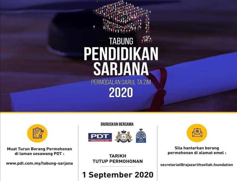 Permohonan Tabung Pendidikan Sarjana PDT bagi tahun 2020 telah dibuka!