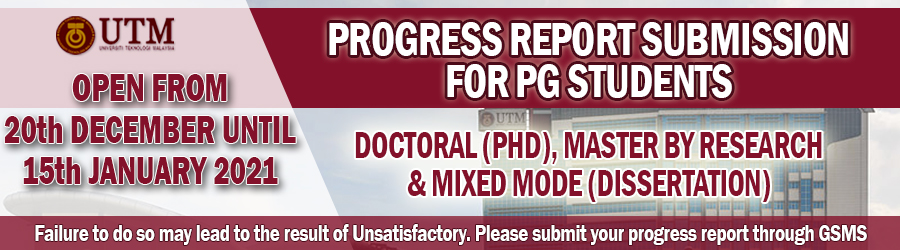PROGRESS REPORT SUBMISSION FOR PG STUDENTS